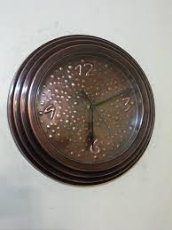 Silent Wall Clock Custom Made Hand Hammered Patina Copper Wall Clock By Copperdesign