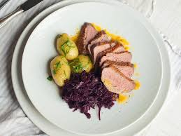 roast duck with red cabbage and new potatoes recipes kitchen