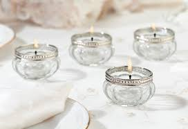glass and silver tealight holders set of 4