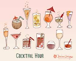 retro cocktail party clipart commercial use wine hand drawn