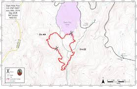 Yosemite Park Map Dark Hole Fire In Yosemite National Park Fire Map For Wednesday