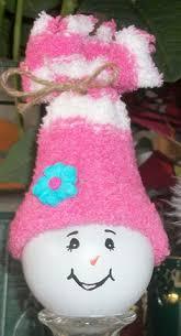 snowman lightbulb ornaments glued to gatorade lids diy crafts