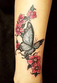 flowers and butterfly on leg