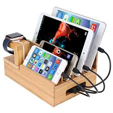 phone charger organizer amazon com inkotimes bamboo charging station dock organizer for