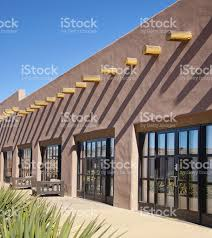 Adobe House Santa Fe Old Adobe House With Stucco Wall And Vigas Stock Photo