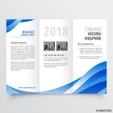 free three fold brochure template creative tri fold brochure design template with trendy wave style