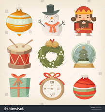 retro christmas decorations ornaments toys balls stock vector