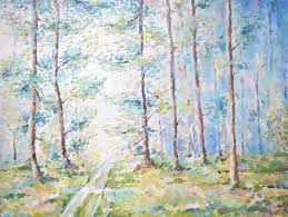 abstract woodland landscape spring forest painting path in the