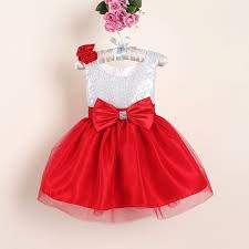 hot selling Flower Girl Christmas Dresses with Bow novelty Sequined