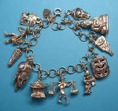 themed charm bracelet vintage sterling silver asian charm bracelet eight charms