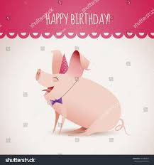 birthday card smiling pig eps10 vector stock vector 243088378