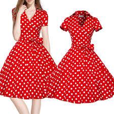 popular vintage neck polka dots sleeveless dress red buy cheap