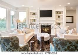 beautiful living room interior hardwood floors stock photo