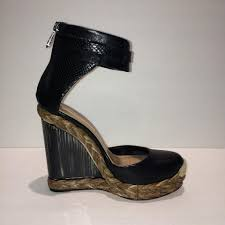 bcbgmaxazria black new wedge platform ankle strap leather sandals