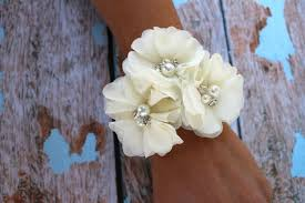 Prom Wristlets Chiffon Flower Wrist Corsage Vintage Inspired Mother Of The