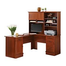 Office Depot L Shaped Desk Sauder Traditional L Shaped Desk 29 14 H X 62 12 W X 58 D Shaker