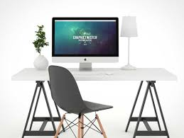 imac desk white background photo studio psd mockup workspace with imac psd