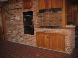interior rustic country brick wall kitchen ideas plus built in