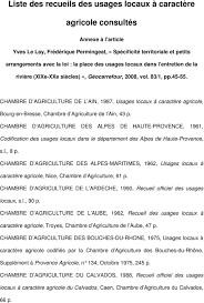chambre d agriculture ain liste des recueils des usages locaux à caractère agricole consultés