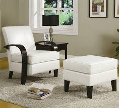 bentwood white leather accent chair with storage ottoman by