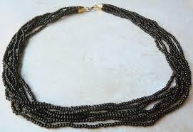 black seed bead necklace images Vintage black seed bead multi strand necklace jpg
