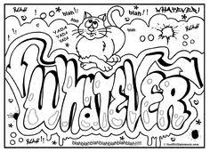 graffiti color pages never give up graffiti free printable colouring sheet free