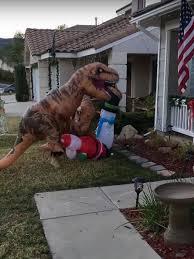 hilarious moment t rex take on santa claus during suburban