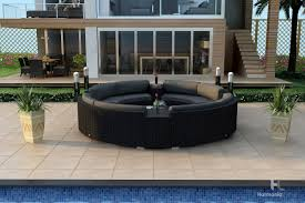 Curved Sectional Patio Furniture - harmonia living urbana eclipse 7 piece sectional set