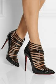 christian louboutin gortik 120 python and patent leather ankle
