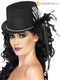 black top hat with skeleton hand fancy dress halloween accessory
