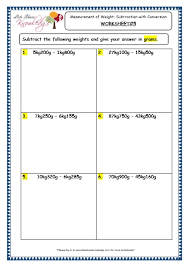 grade 3 maths worksheets 12 2 measurement of weight subtraction
