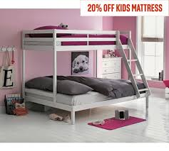 buy home kaycie single and double bunk bed frame white at argos