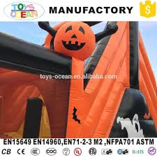outdoor halloween pumpkin inflatable obstacle course for kids