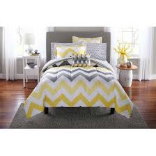 Yellow And Grey Bed Set Mainstays Yellow Grey Chevron Bed In A Bag Bedding Comforter Set