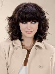 thick hairstyles medium length shoulder length style with waves and bangs for thick hair
