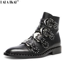 womens leather biker boots sale lala ikai luxury studded boots genuine leather motorcycle