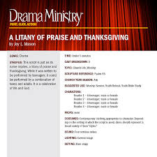 a litany of praise and thanksgiving drama ministry