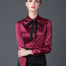 in satin blouses 2017 satin shirt sleeve pan collar silk