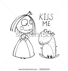 baby princess frog kiss coloring stock illustration