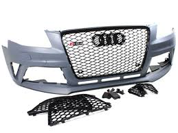 audi s4 front bumper rs4 style front bumper kit w gloss black grilles for 09 12 audi