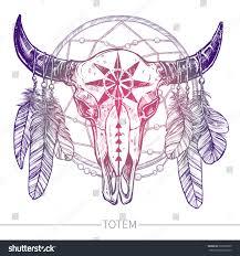 buffalo skull feathers dreamcatcher native american stock vector
