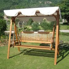 furniture outdoor design of wooden patio glider with cream white
