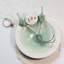 Wedding Ring Holder by I Do Mint Wedding Ring Bearer Dish Personalized Ceramic Ring