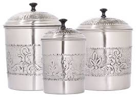 silver kitchen canisters 3 antique stule embossed canister set traditional