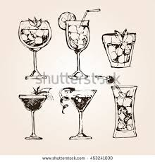 sketch cocktails alcohol drinks set hand stock vector 490830052