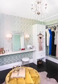 round dressing room ottoman blue and green trellis closet wallpaper contemporary closet