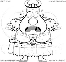 cartoon clipart of a black and white fearful plump female viking