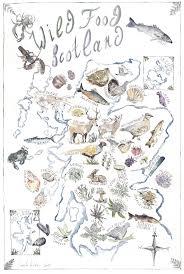 Map Scotland Wild Food Scotland U0027 Tea Towel Camilla Seddon Art Originals