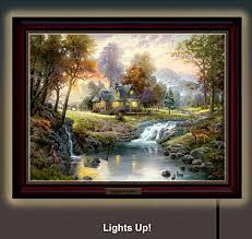 thomas kinkade lighted pictures thomas kinkade mountain retreat lighted canvas print thomas kinkade