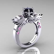 pink and black engagement rings masters classic winged skull 14k white gold 1 0 ct black